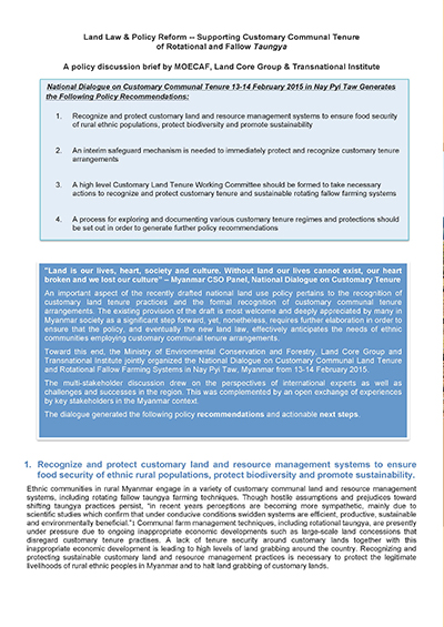 2015 Land Law and Policy Reform Supporting Customary Communal Tenure of Rotational and Fallow Taungya