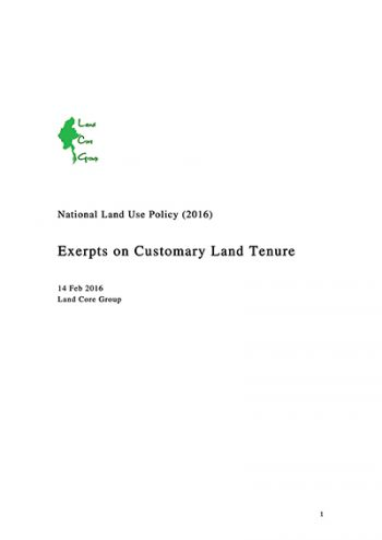 NLUP Excerpts on customary tenure